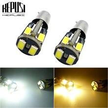 цена на 2pcs BA9S T4W T11 233 363 Super bright 10 SMD 5630 5730 LED Car parking light reading Interior Lamps motor Bulb 12V White yellow