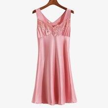 Sexy Sleepwear Woman Night Women Sleeping Dress Ice Silk Sleeveless Plus Size Home Clothes
