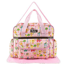 купить Cartoon Pattern Waterproof PVC Mummy bag Multi-pocket Baby Nappy Diaper Bag Stroller Zipper Handbag Baby Nursing Bag J71 дешево