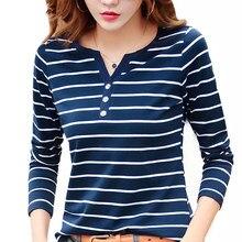 女性のtシャツコットンショート長袖女性のtシャツストライプ夏春秋の女性blusaホワイトプラスサイズファッショントップtシャツT0