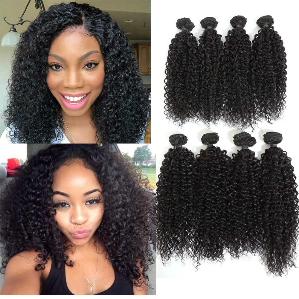 Image Beauty Afro Kinky Curly Hair 14-16inch 8Bundles/lot Synthetic Hair Weave 240g Nature Color Thick Kinky Curl Hair Extension