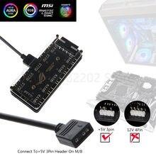OOTDTY 3 pin AURA SYNC 5V RGB 10 Hub Splitter de alimentación SATA 3pin ARGB adaptador Cable de extensión para GIGABYTE MSI A SUS ASRock LED nuevo