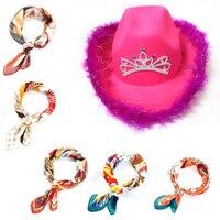 Sombrero de vaquera con bufanda cuadrada para mujer, Tiara de estilo occidental para chica, sombrero de vaquera, sombrero de vaquero, sombrero de fiesta para vacaciones