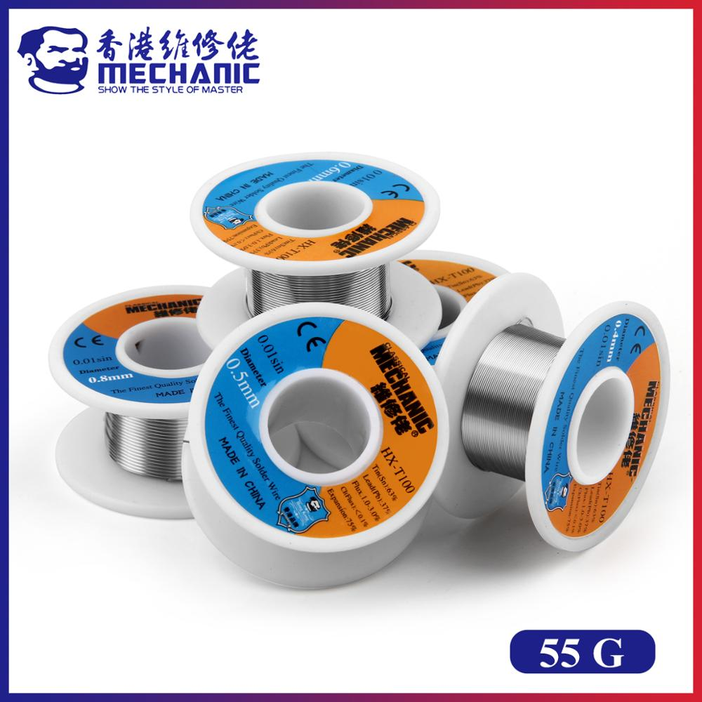 MECHANIC HX-100 55g 63%/37% Sn/Pb Rosin Core 183℃ Melting Point 0.2mm To 1.2mm Solder Wire Welding Flux 1.0-3.0% Iron Cable Reel