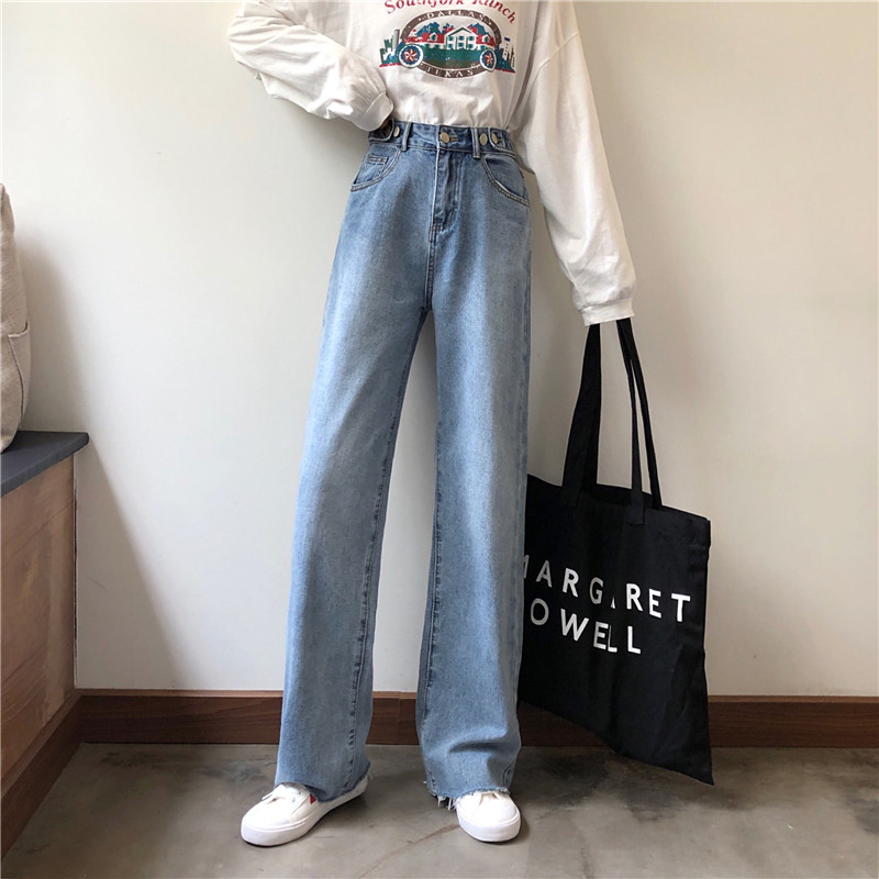 Loose Fashion High Waist Summer Wide Leg Loose Denim Stretch  Full Length Straight Casual Jeans