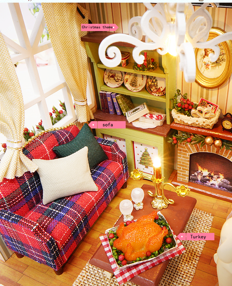 Cutebee Holiday Time DIY Retro American Style Dollhouse