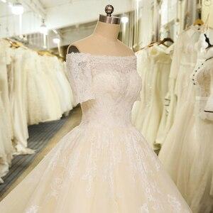 Image 5 - Женское свадебное платье с коротким рукавом, фатиновое кружевное винтажное платье в стиле бохо с вырезом лодочкой, свадебное платье