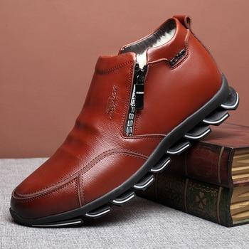 العلامة التجارية الجديدة للرجال الشتاء أحذية جلدية أحذية الصوف والقطن الرجال الفراء الترفيه أحذية عالية أعلى زائد المخملية الدافئة أحذية رجالية 3