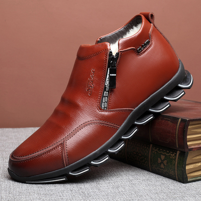 Brand New Men's Winter Sneaker Leather Boots Wool and Cotton Men's Fur Leisure High-top Shoes Plus Velvet Warm Men's Shoes 3