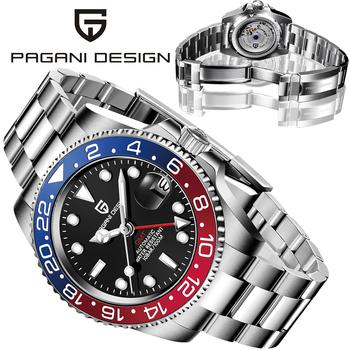 PAGANI Design 40MM męski zegarek mechaniczny wielofunkcyjny zegarek GMT męski 2021 Top luksusowa marka wodoodporny zegarek ze stali nierdzewnej tanie i dobre opinie 10Bar CN (pochodzenie) Składane bezpieczne zapięcie BIZNESOWY Samoczynny naciąg 22cm STAINLESS STEEL Odporna na wstrząsy