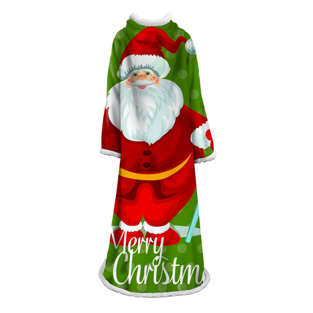 Christmas Decorative Santa Claus Sleeve Blanket Winter Warm Super Soft Sleeve Blankets Fleece Thick Bed Sofa Cloak Throw Blanket