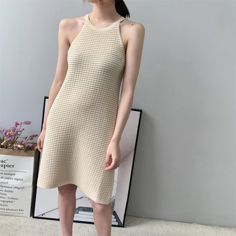 Fall 2019 Women dress solid color round neck sleeveless dress casual knit vest dress-in Dresses from Women's Clothing    1