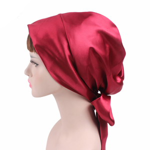 elegent Solid/Dot Head Scarf women Chemo cap print Silk Night Sleep Cap Satin soft Hair Bonnet long tie Hat Head Cover bow