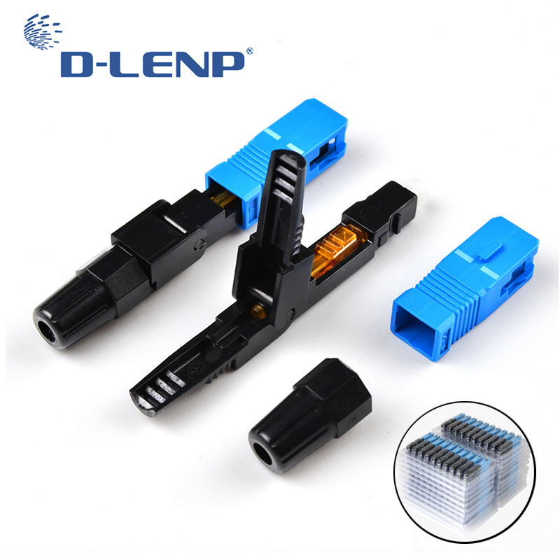 DLENP 10/ 50/ 100/ 300 PCS Embedded SC UPC Fiber Optic Connector FTTH Single-Mode Fiber Optic SC Quick Adapter Field Assembly