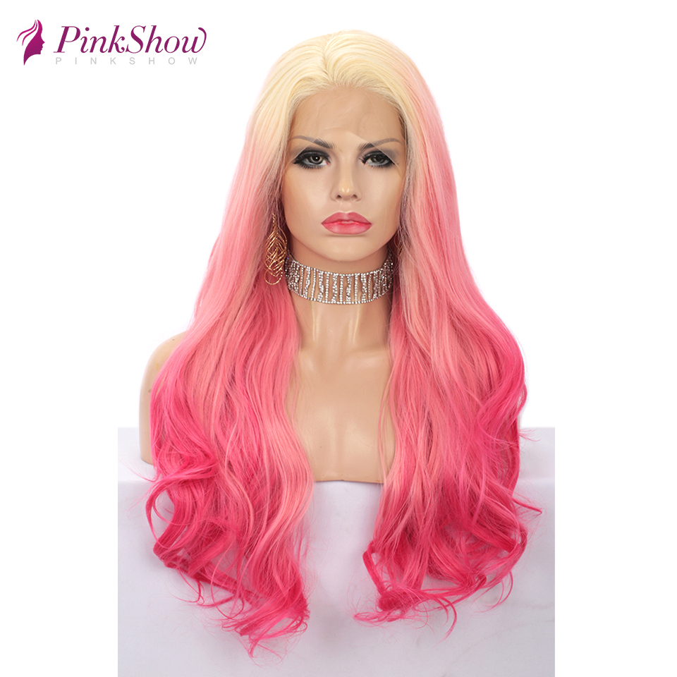 Pinkshow Ombre Blonde Pink Wigs For Women Wavy Synthetic Lace Front Wig Heat Resistant Fiber 24 inches Party Cosplay Wig