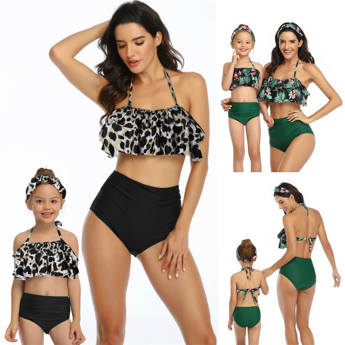 Mommy and me swimsuit Mother and Daughter Swimsuit Swimwear Bikini 2020 Summer Family Matching Outfits Swimsuit Leopard Green