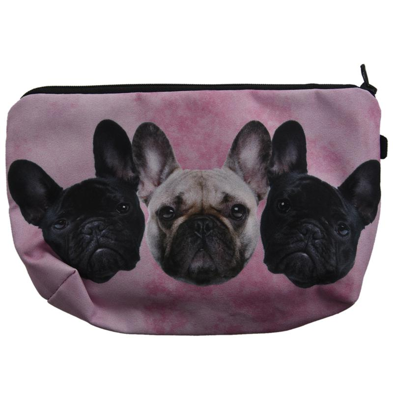 Super Funny 3D Printing Women Cosmetic Bag Multifunction Pencil Holder (3 Pugs)