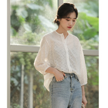 NEW 2020 Cotton and Linen Lace Shirt Top