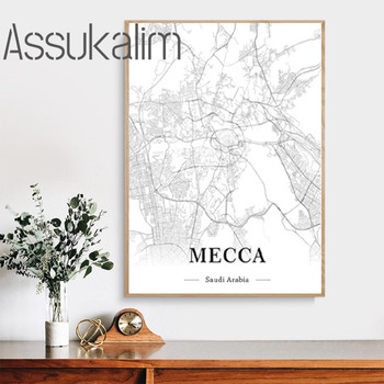 Saudi Arabia Posters Mecca City Map Wall Art Canvas Paintings Latitude And Longitude Prints Pictures Living Room Home Decoration image