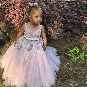 Blush Pink Flower Girl Dresses With Sash Sheer Jewel Neck Beads Lace Appliques Girls Pageant Gowns Tulle Kids Birthday  Dress white cheap flower girls dresses scoop neck girls pageant dresses organza beads kids party gowns 2019