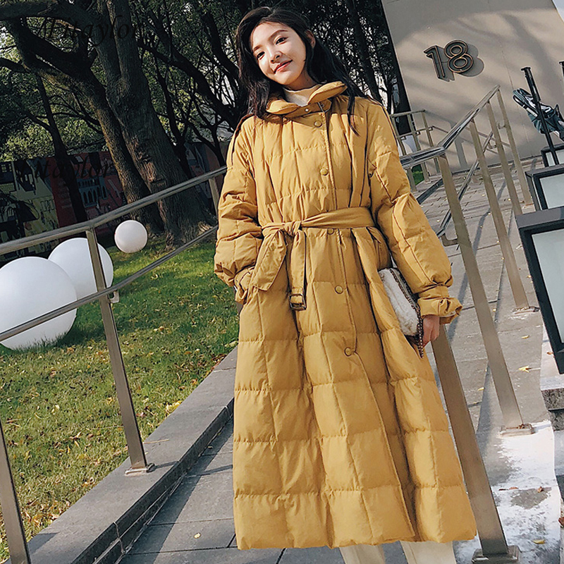 Fitaylor New Women Ultra Light White Duck Down Long Parkas Winter Loose Streetwear Down Overcoat Warm Yellow Outwear With Belt
