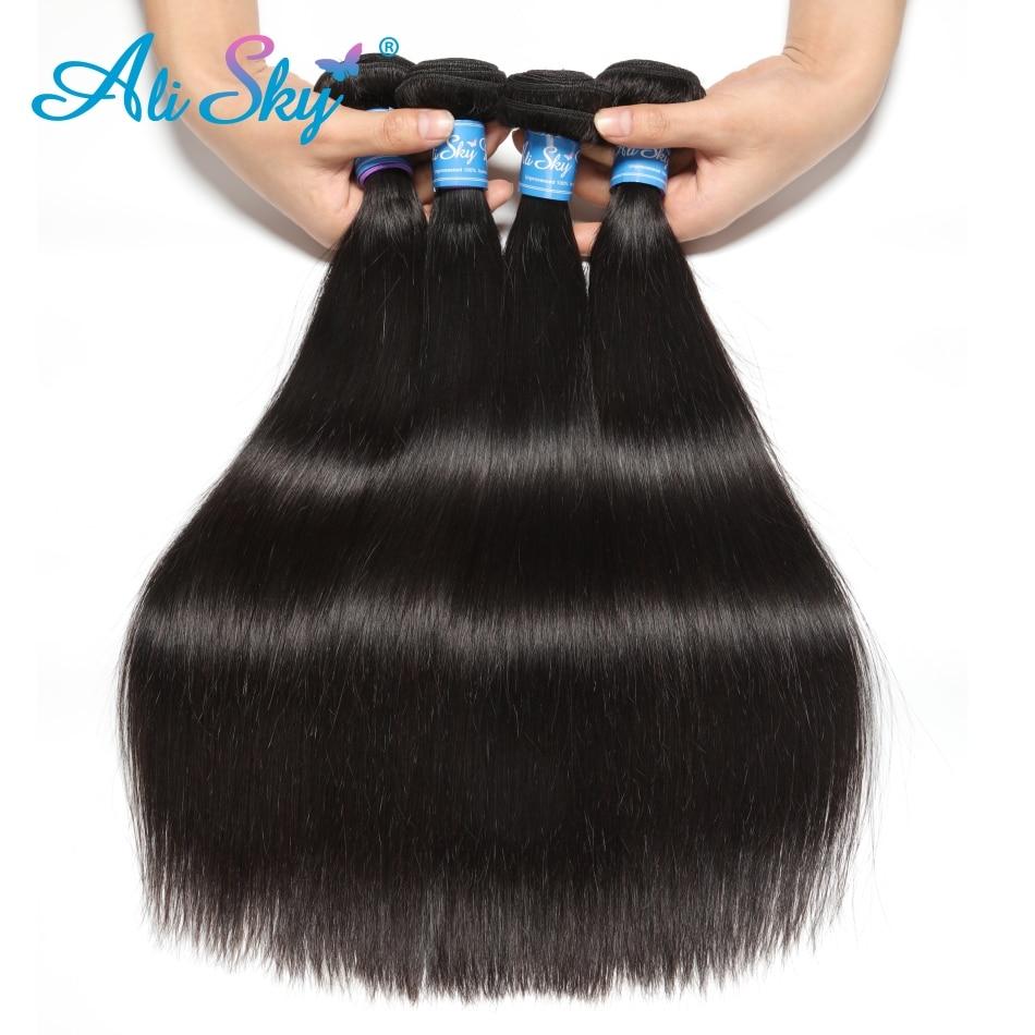 "H17c97bc9112f4fb2804e9ffa4c83ee225 Indian Straight Hair Bundles 4 Bundles With Closure Human Hair Bundles With Closure Ali Sky 4""x4"" Top Lace Closure Remy"