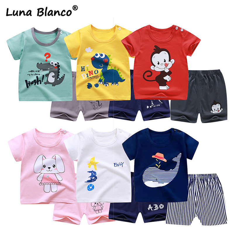 2pcs/sets 6M-6Y Unisex Summer Pajamas Children's Sets Short Sleeve CottonT-shirt  Pants For Toddler Boy Clothes Girls Kids Suits
