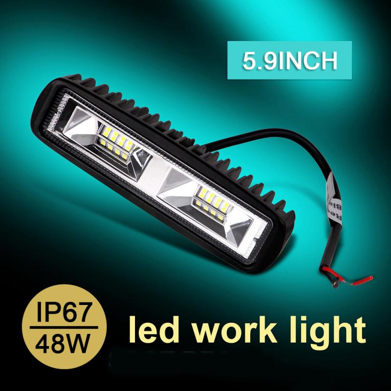48W 16 LED 6000K Car Led Light Car SUV Flood Beam Work Light Driving Fog Aluminum Lamp Bar Fog Lights For Truck Car Work Lamp