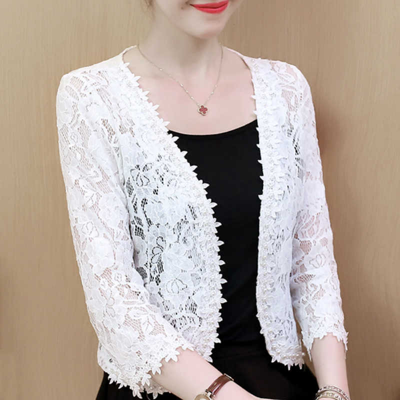 Blusas Mujer De Moda 2020 3XL 4XL Plus Size Blouse Vrouwen Shirts Fashion Kralen Hollow Lace Blouse Womens Tops En blouses B240
