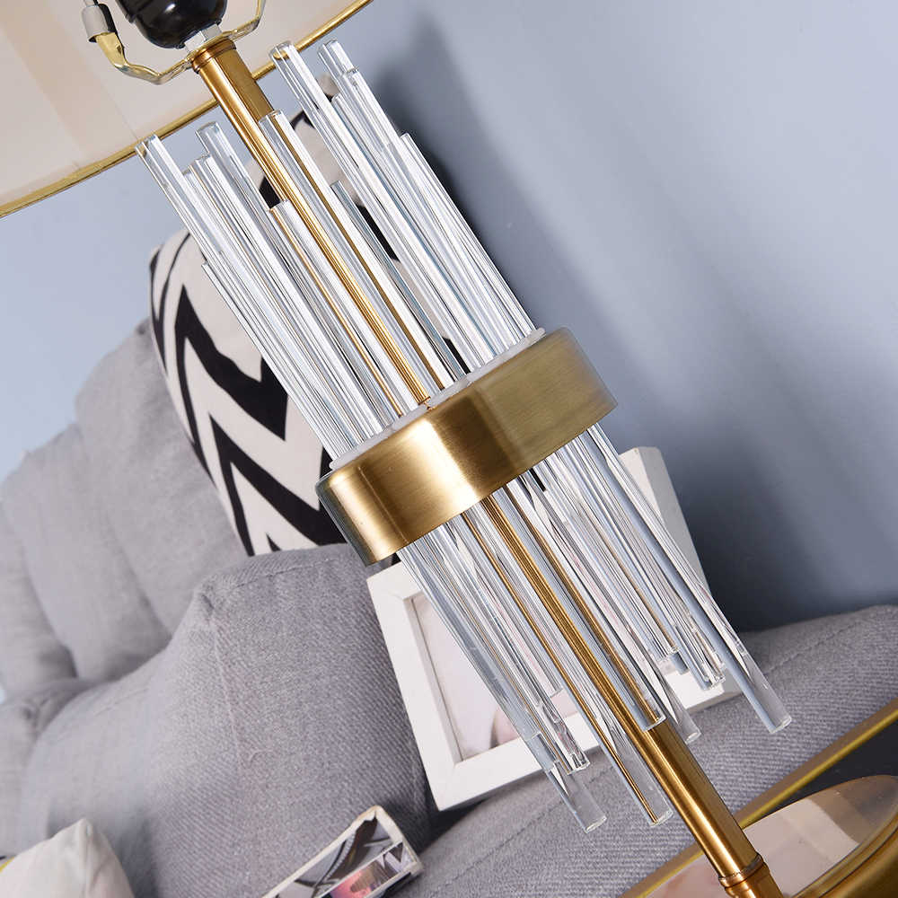 2 개 구매시 15% 할인 크리스탈 유리 스틱 테이블 램프 침실 용 거실 침대 옆 램프 Golden Lampshade EU Plug 110v 220v