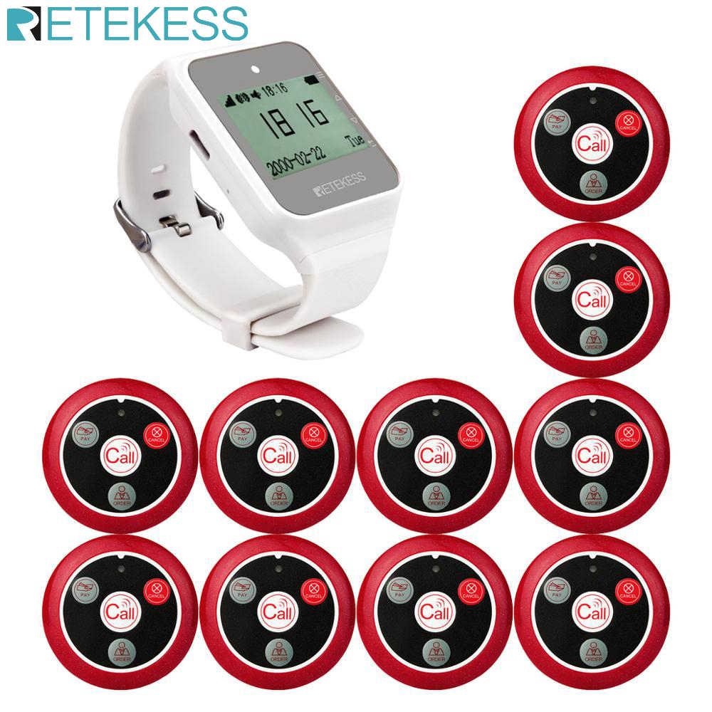 Retekess TD108 Hookah inalámbrico buscapersonas Restaurante Camarero sistema de llamada reloj RECEPTOR + 10 Uds botón de llamada transmisor Bar Café Oficina