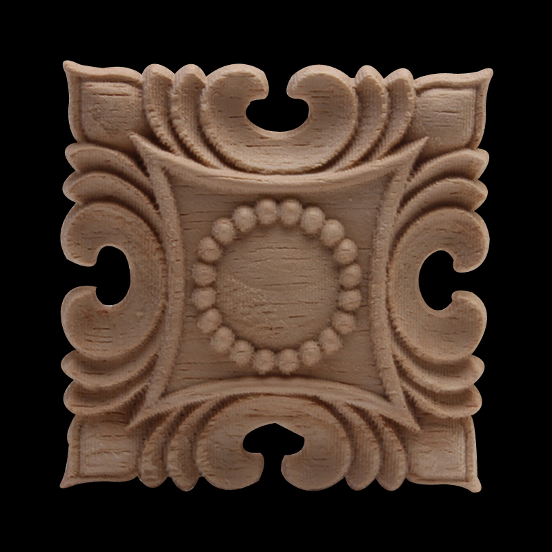 European Decal Carved Square Solid Wood Square Round Door Heart Flower Furniture Decoration Accessories Wood Decal Carved Walls