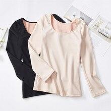 winter termal shirt body sculpting women round neck slim thick velvet autumn underwear  long warm thermal tops
