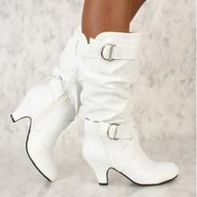 Damskie buty zimowe 2019 moda Sexy Lady Over buty do kolan szpilki długie buty do uda buty śniegowe buty damskie Kozaki #20 tanie tanio YOUYEDIAN Połowy łydki Pasuje prawda na wymiar weź swój normalny rozmiar Okrągły nosek Wiosna jesień Pasek klamra