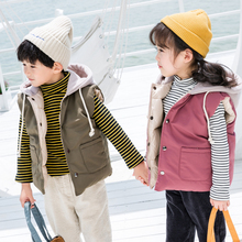 Winter Boy Girl Hooded Vest For Children Korean Kid Sleeveless Warm Jacket Cotton-Padded Waistcoat Toddler Clothing Bodywarmer 7 недорого