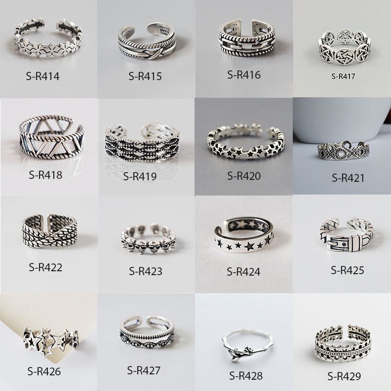 Multi-style Vintage 925 Sterling Silver Rings Handmade Size 18mm Adjustable Thai Silver Rings For Men Women S-R414
