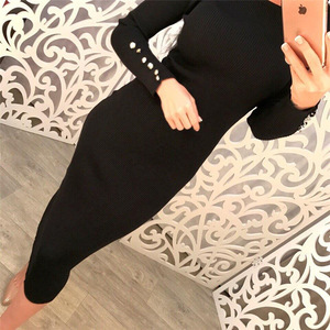 Image 5 - Fashion Women Sexy Bodycon Dress Autumn Winter Knitted Midi Dress Robe Solid Package Hip Long Sleeve Dresses Ribbed Party GV420