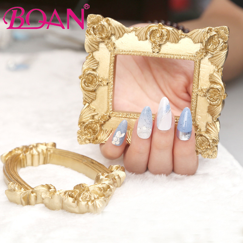 BQAN Retro Resin Photo Prop European Style Lace Gold Hollow Frame False Nail Art Plate Tips Practice Display Manicure Tool