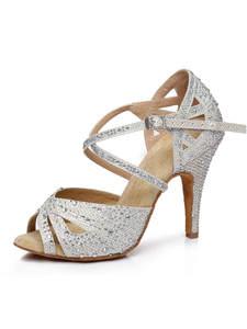 Dance-Shoes Heels Latin Bachata Tango Training Rhinestones Kizomba Woman 10cm New 9cm