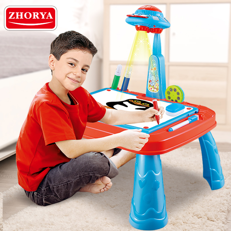ZHORYA Projector Drawing Board Painting Desk UFO Design Learning Educational Toys for Children Blue Table Draw Pen Kids Toy Game