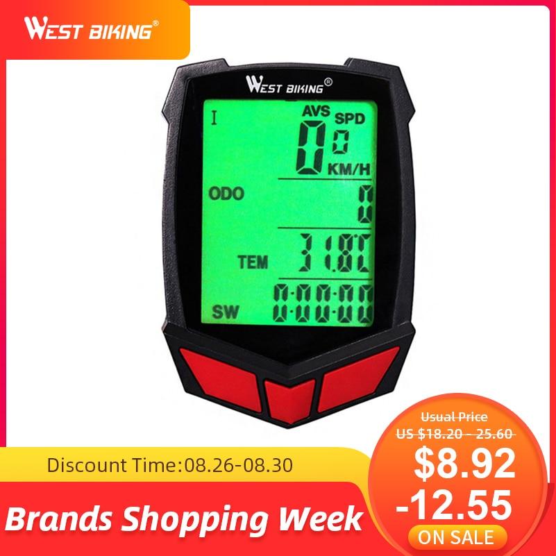 Bike Stopwatch Computer Odometer Cycling West Biking Wireless MTB 20-Functions