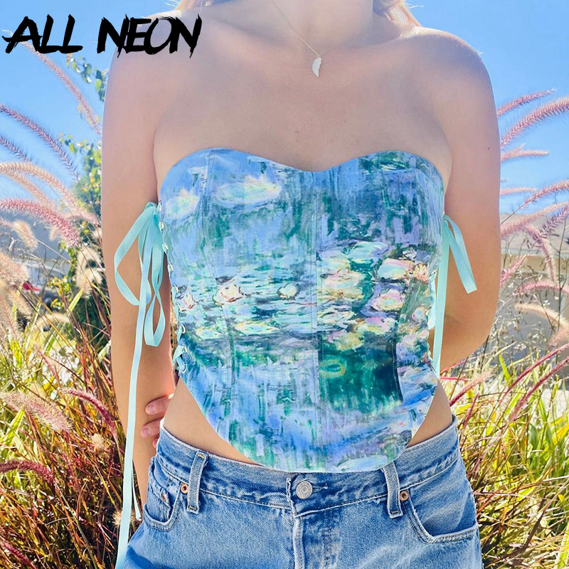 ALLNeon 2000s Vintage Tie Dye Lace-Up Korsett Tops Sommer 2021 Y2K Mode Drucken Liebsten Tank Tops Sexy party Outfits Verband