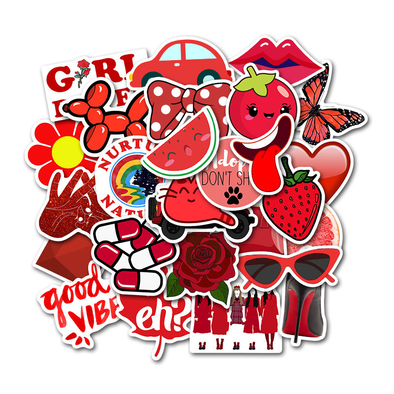 50PCS Cartoon Red Fresh Computer Stickers Waterproof Suitcase Skateboard Laptop Decals For MacBook/HP Notebook Graffiti Sticker