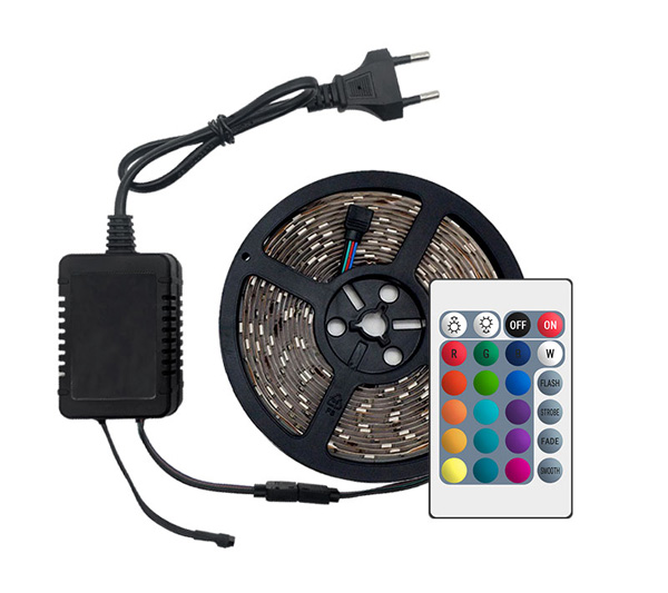 H17cae180560548c4b98dc0dce8477c17A LED Strip Light RGB 5050 SMD 2835 Flexible Ribbon fita led light strip RGB 5M 10M 15M Tape Diode DC12V 60LEDs 1M+Control+Adapter