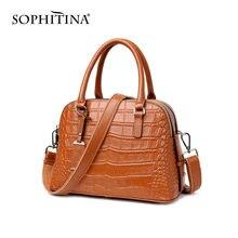 Женская сумка из натуральной кожи под крокодиловую кожу sophitina