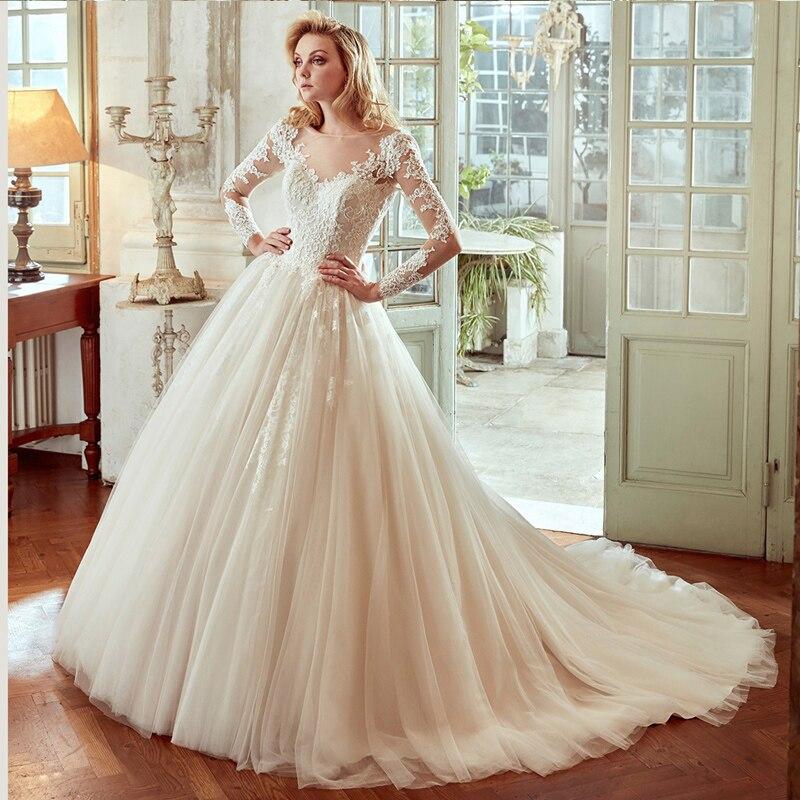 Plus Size Long Sleeves Romantic Lace Bridal Gown Train Vestido De Noiva Princesa Robe De Mariee 2018 Mother Of The Bride Dresses