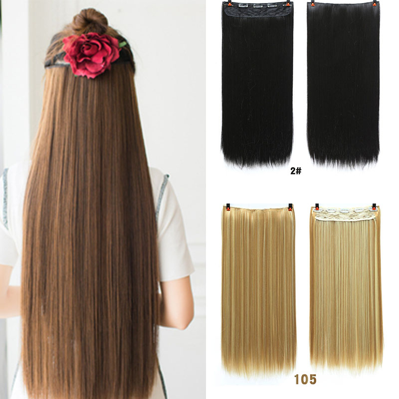 MANWEI 60cm Long Synthetic Hair Clip In Hair Extension Heat Resistant Hairpiece Natural Wavy Hair Piece