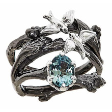 Milangirl Blau Zirkonia Ringe für Frauen Hochzeit Engagement Ring Vintage Schwarz Ast Blatt Vögel Multilayer Kreuz Ringe