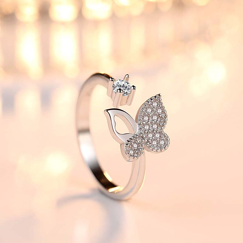 Adjustable-Ring Romantic Pearl Butterfly Sterling-Silver Fashion Jewelry-Decoration Crystal