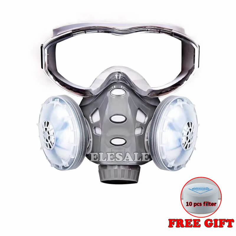 2020 Dust Mask Respirator With Safety Glasses Dual Filters Full Face Mask Windproof For Carpenter Builder Polishing Dust-proof